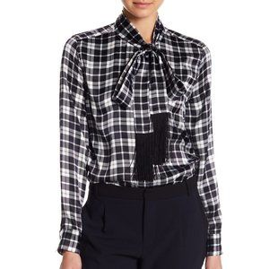 Equipment Plaid Fringe Tie Neck Silk Button Up Top